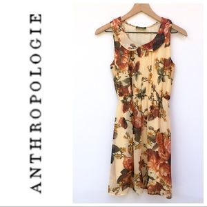 Anthropologie Maude Peach Floral Dress Size S